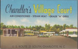 CHARLOTTE - CHANDLERS VILLAGE COURT ...View of Motel, US #21 , 1950s era