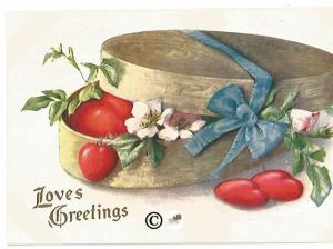 Old Fashioned Valentine's Day Postcards Red Hearts in Candy Box w/ Country Roses