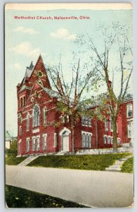 Nelsonville Ohio~Methodist Church~Steps up Hilly Lawn~c1910 Postcard