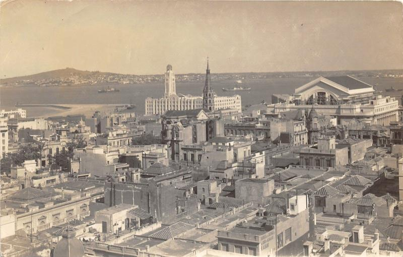 Montevideo Uruguay Bird's Eye View~Buildings-Church-Houses-Ships in Harbor~RPPC