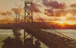 California San Francisco-Oakland Bay Bridge At Sunset