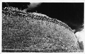 Zimbabwe The Chevron Pattern On Temple Wall real photo Postcard