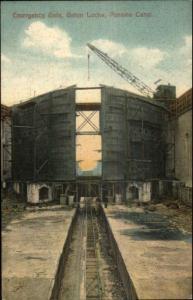 Panama Canal Locks Gatun Emergency Gate c1910 Postcard