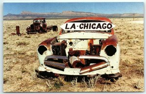 Postcard Route 66 Souvenirs Mother Road Thruxton Arizona AZ Rust Car Chicago A1