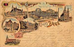 GRUSS aus BRIEG POLAND GERMANY~MULTI IMAGE 1897 POSTMARK~H BEDURFTIG POSTCARD