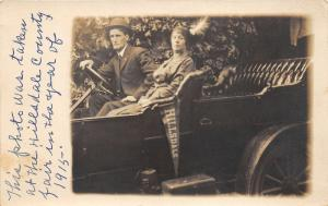 Hillsdale Michigan~Hillsdale County Fair~Man & Lady with Feather in Hat~'15 RPPC
