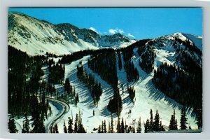 Arapahoe Basin, CO- Colorado, Aerial View, Snow, Mountains, Chrome Postcard