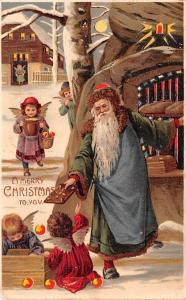 Santa Claus Hold To Light Post Card Old Vintage Antique A Merry Christmas to ...