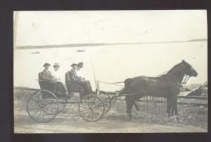 RPPC ROCKWELL IOWA HORSE DRAWN 4 PEOPLE WAGON REAL PHOTO POSTCARD