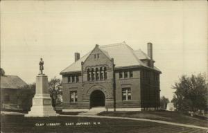 East Jaffrey NH Clay Library & Civil War Monument c1910 Real Photo Postcard