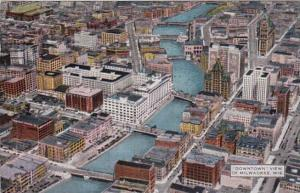 Wisconsin Milwaukee Aerial View Of Downtown 1944