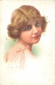 Artist Signed~Pretty Short Haired Curly Blonde~Blue Eyes~Pink Tie Strap Dress