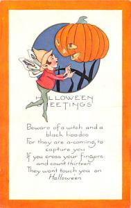 Halloween Post Card Old Vintage Antique Whitney Made writing on back