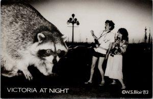 Victoria BC Giant Raccoon 'Victoria at Night' WS Blair Real Photo Postcard G29