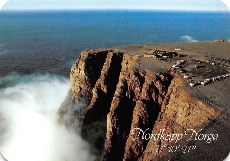 Norway Norge Nordkapp Cliffs Auto Cars Aerial view