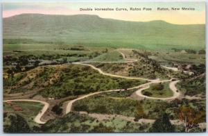 Raton Pass, New Mexico Postcard Double Horseshoe Curve Hand-Colored Albertype