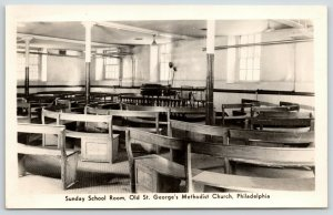 Philadelphia PA~Old St George's Methodist Church Sunday School Room~1940s RPPC
