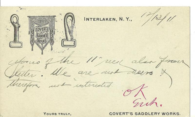 1911 Covert's Saddlery Works, Interlaken, New York ~ Postal Card