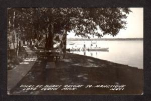 MI Burks Resort Manistique MICHIGAN Real Photo RPPC Postcard Lake Curtis RP