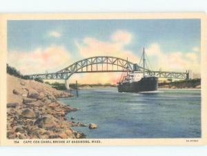 Unused Linen CAPE COD CANAL BRIDGE Cape Cod - Sagamore Massachusetts MA d4131