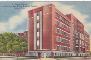 Texas Dallas St Paul's Hospital Showing New Dallas Building Addition Curteich