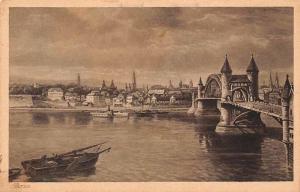 Bonn am Rhein Schiff Bruecke, River Bridge Pont Panoramic view