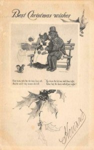 Best Christmas Wishes Bear Family Strothmann Art c1910s Vintage Postcard