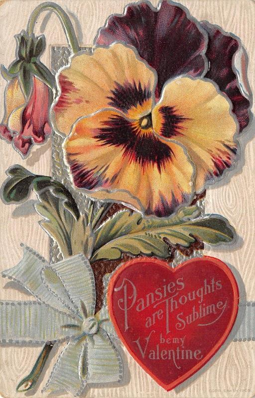 Valentine~Huge Purple Yellow Pansy~Pansies Art Thoughts Sublime~Silver Emboss