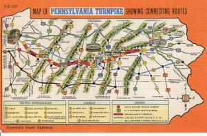 US    PC1260  MAP OF THE PENNSYLVANIA TURNPIKE