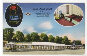 York Hotel Court Motel US 31 Nashville Tennessee 1956 postcard