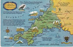 Post Card illustrated map Cornwall
