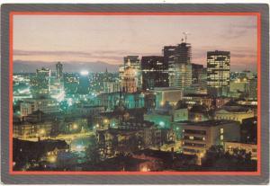 Panorama of Denver, Colorado at night, unused Postcard
