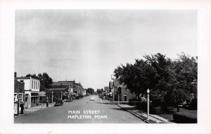 Mapleon Minnesota~Main Street~Real Photo Postcard 1940s