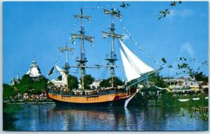 Vintage DISNEYLAND CA Postcard COLUMBIA Sailing Ship C-12 Frontierland c1960s