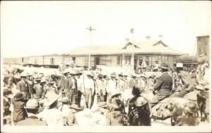 Mexican Revolution - Soldiers at RR Train Station - c1910 RPPC dcn