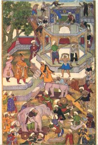 Postcard Lahore Museum PAKISTAN a Mughal Prnce supervises construction of palace