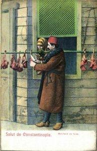 turkey, CONSTANTINOPLE, Liver Merchant (1910s) Postcard