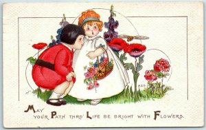1915 Artist-Signed M.E.P. PRICE Postcard May Your Path Be Bright With Flowers