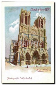 Old Postcard Train Railways & # 39Est of Reims cathedral