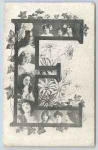 Large Alphabet Letter E~Lovely Ladies~Ivy Vine & Daisies~1905 B&W IPCC Postcard