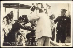 King Wamba and Queen Sancha Arriving in Toledo, Ohio (1910) RPPC