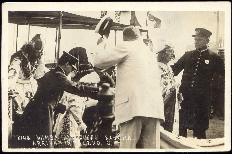 King Wamba and Queen Sancha Arriving in Toledo, Ohio (1910) RPPC