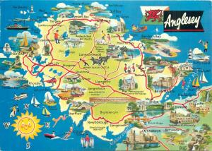 Anglesey map postcard