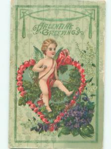 Pre-Linen Valentine CUPID WITH HEART OF FLOWERS AB3033