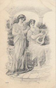 Women playing Flute & Harp , 1913