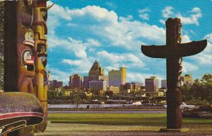 Canada Indian Totem Poles and Skyline Vancouver British Columbia
