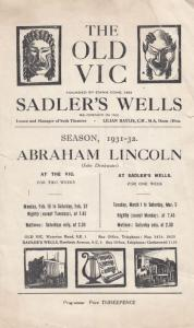 Abraham Lincoln The Old Vic Drama Antique London Theatre Programme