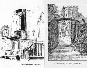 St Andrews Church Thurning Northamptonshire 2x Artist Postcard s