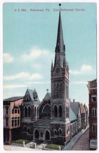 1907-1915 Allentown PA Zion Reformed Church DB Divided RARE Old German Postcard