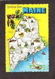 ME Greetings From Maine State Map Postcard York Orono Jackman Machias Calais